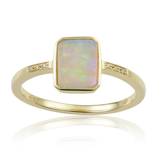 Kaia Emerald Shaped Opal Ring