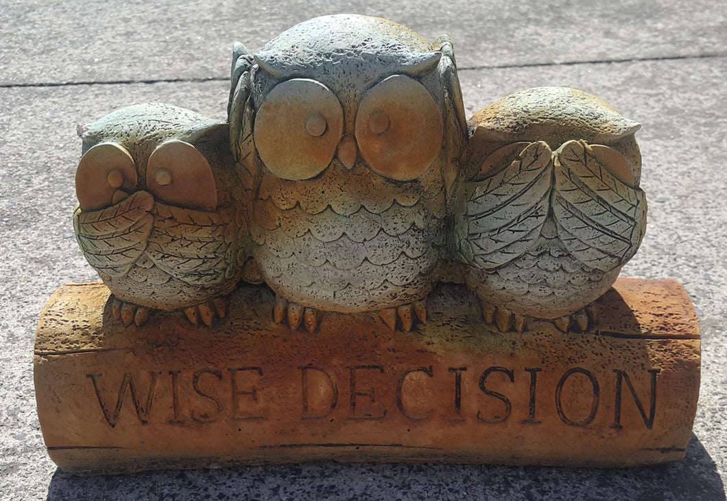 Wise Decision Owls Rust Green