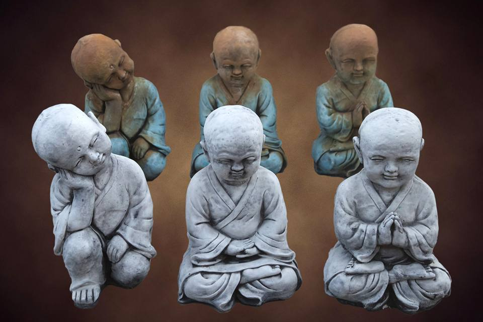 Set of Three Large Monks Concrete
