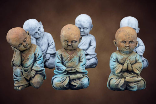 Set of Three Small Monks Concrete