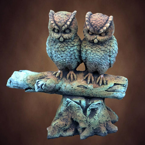 Owls On Log Concrete