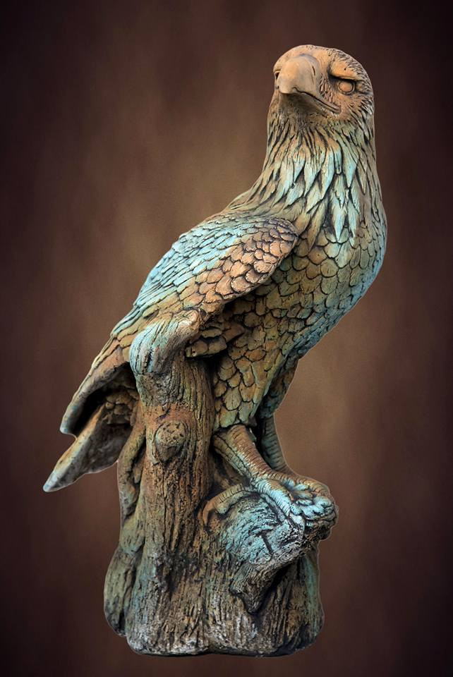 Large Eagle On Log