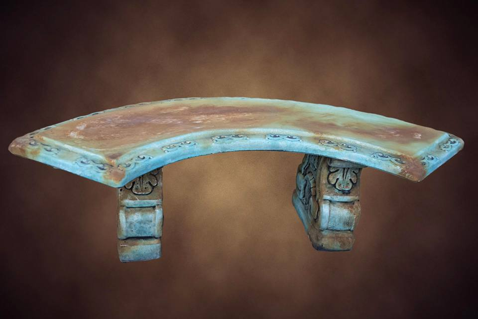 Large Curved Bench Rust/Green