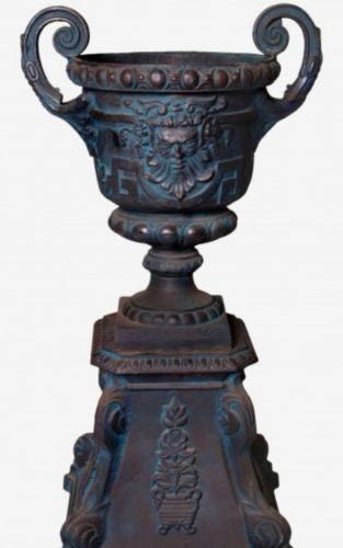 Verona Urn And Base Set Cast Iron