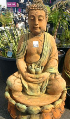 Large Lotus Buddha Rust Statue/Water Feature