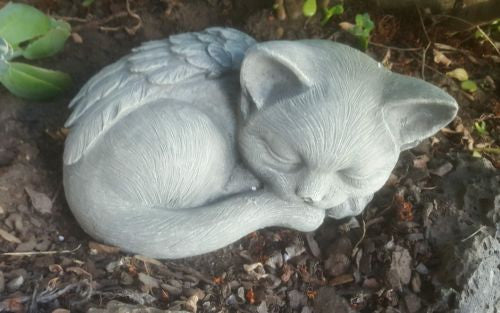 Sleeping Cat With Wings Angel Fiberglass