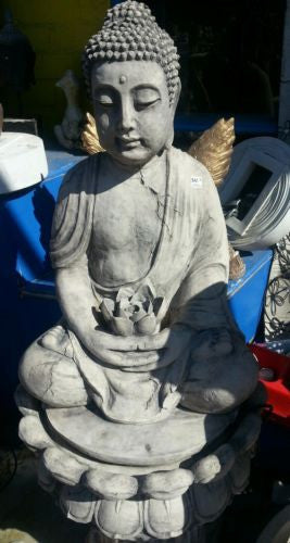 Large Lotus Buddha Grey Statue/Water Feature Concrete