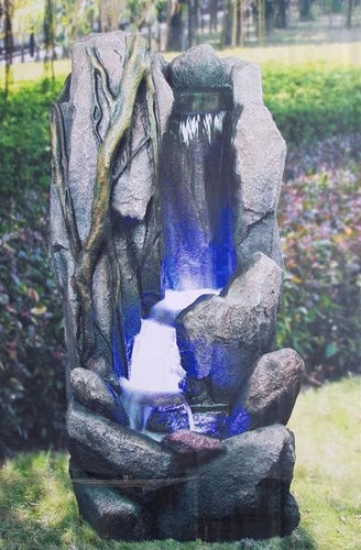 Natural Rock Blue Light Water Fountain