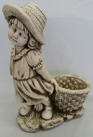 Girl With Flower Pot Statue Fiber Glass
