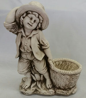 Boy With Flower Pot Statue Fiber Glass