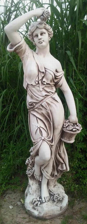 Tall Lady With Pot Statue Fiber Glass
