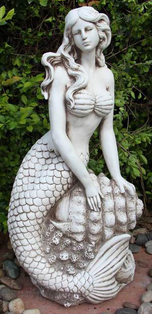 Mermaid In Shell Statue Fiber Glass