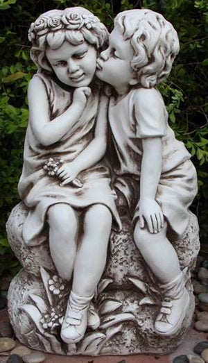 Kissing Boy and Girl Statue Fiber Glass