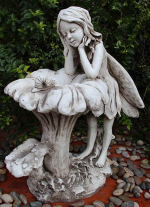 Fairy and Birdfeeder Statue