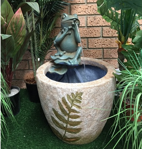 Frog Sitting On Pot Water Feature