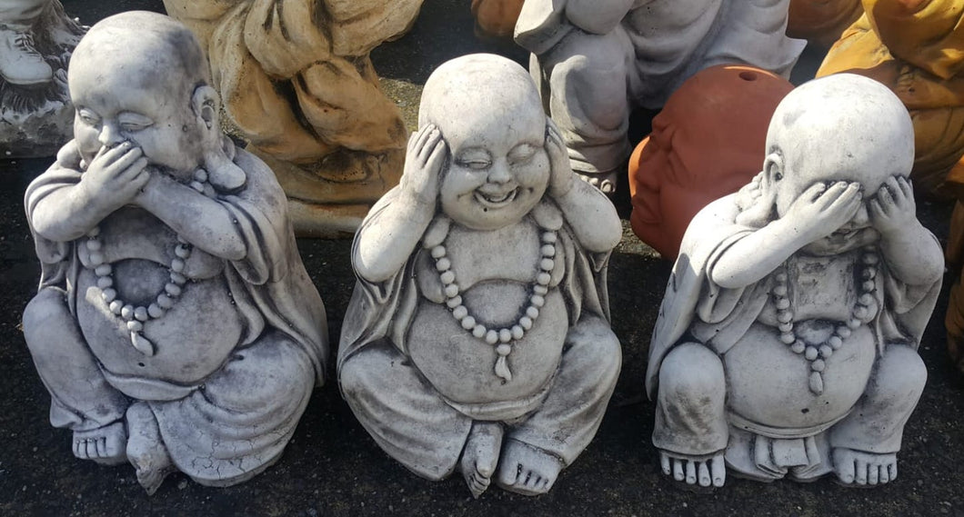 Set of Three Small Laughing Buddha Concrete