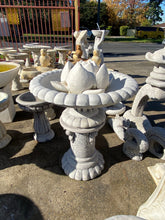 Fancy lotus birdbath / fountain in grey