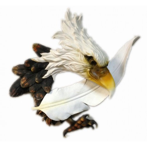 55cm Eagle Head with Feather Wall Hanging