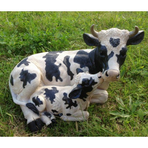 40cm Mum Child Cow Statue