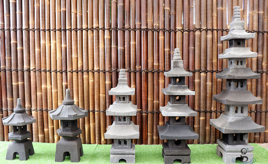 Set of 5 Lava Stone Lanterns