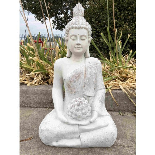 80cm Sitting Buddha with Flower Ball White Fiberglass
