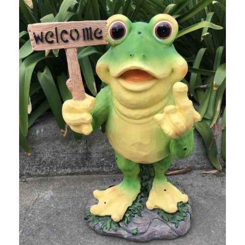 57cm Frog Rude Finger with Welcome Fiberglass