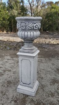 Rose Urn With Tall Square Pedestal