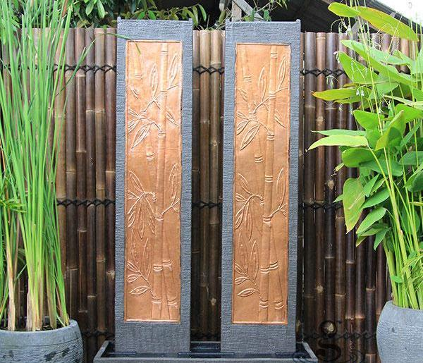 Twin Tower Bamboo Wall Fountain