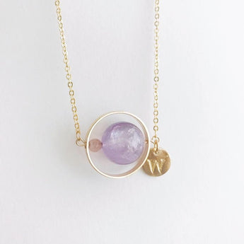 愛情星球字母頸鏈 Personalized Amethyst strawberry quartz Initial Necklace