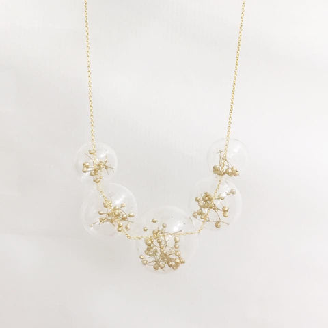 金色滿天星保鮮花頸鏈 Golden Baby Breath Preserved Flower Necklace
