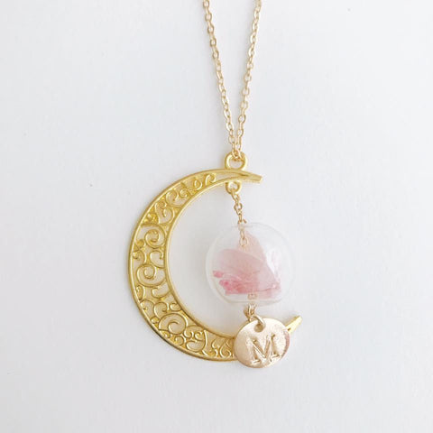 英文字母月亮保鮮花頸鏈 Preserved Flower Moon Glass Ball Necklace