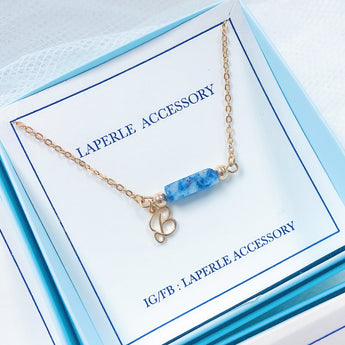 青金石英文字母頸鏈連-姊妹禮物 Bridesmaid Gifts necklace with  a blue  stone