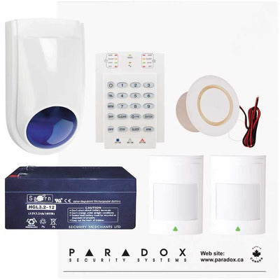 Paradox SP4000 Alarm Kit with Small Cabinet, K636 Keypad & WP06 External Siren