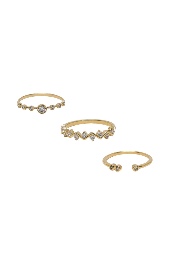 Mystic Shine 18k Gold Plated Ring Set