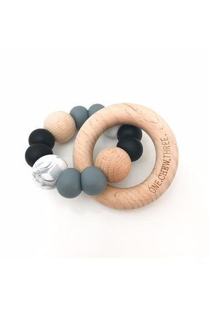 Single Rattle and Teether- Black/Grey