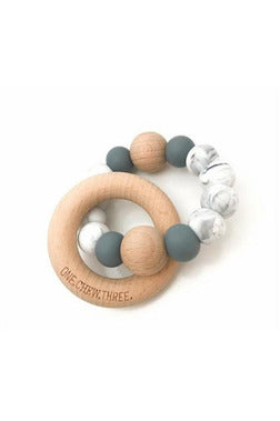 Single Rattle and Teether-Soft Grey