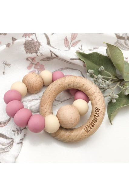 Single Rattle and Teether- Dusty Rose