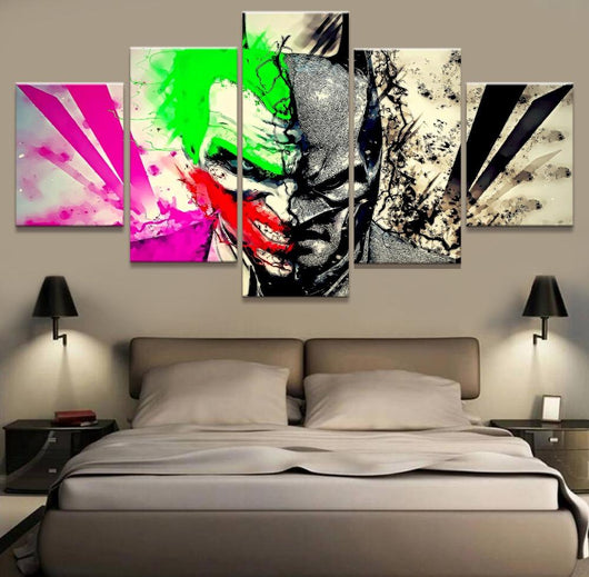 5 piece canvas print batman vs joker wall canvas watzurpassion