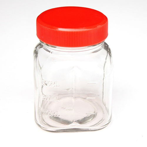 oster glass mini jar includes lid 300 ml red