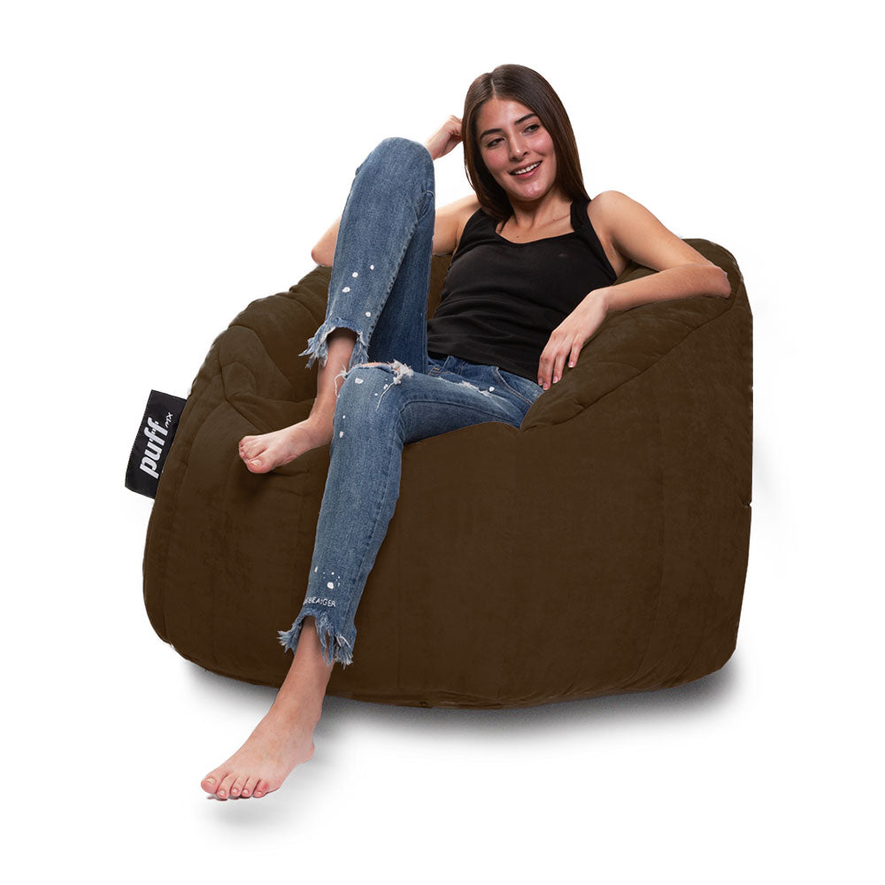 Puff sillón tipo lounger semicircular color chocolate - Tu Gow