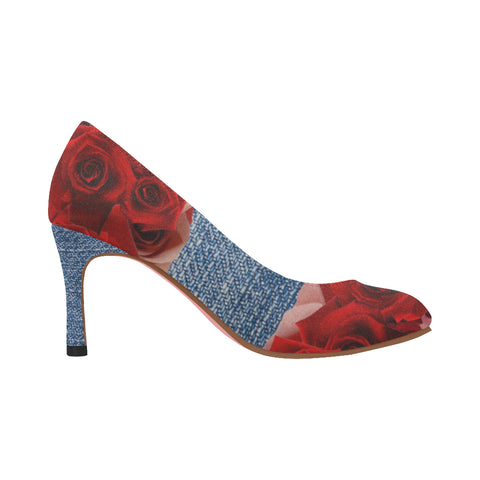 Nadine Pumps/Roses DENIM-SCARLET