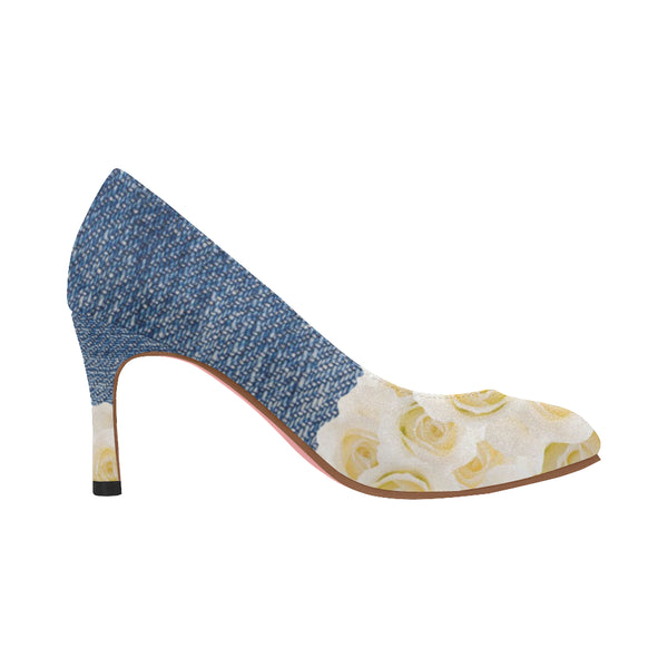 Nadine Pumps/Roses DENIM-BLANC