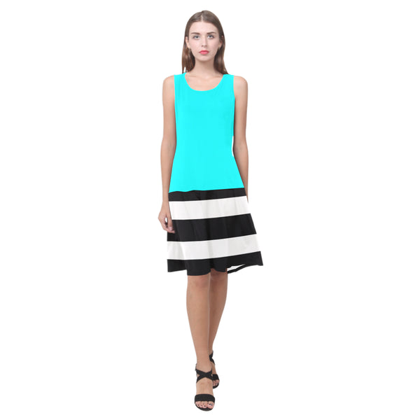 Splice Dress/BW-STRPS AQUA