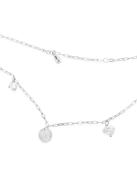 DISC n' PEARL CHAIN LINK NECKLACE