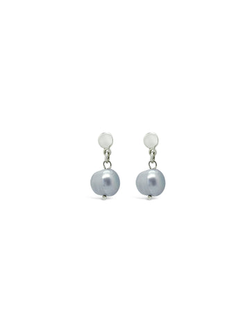 BLUE/GREY PEARL DROP EARRINGS