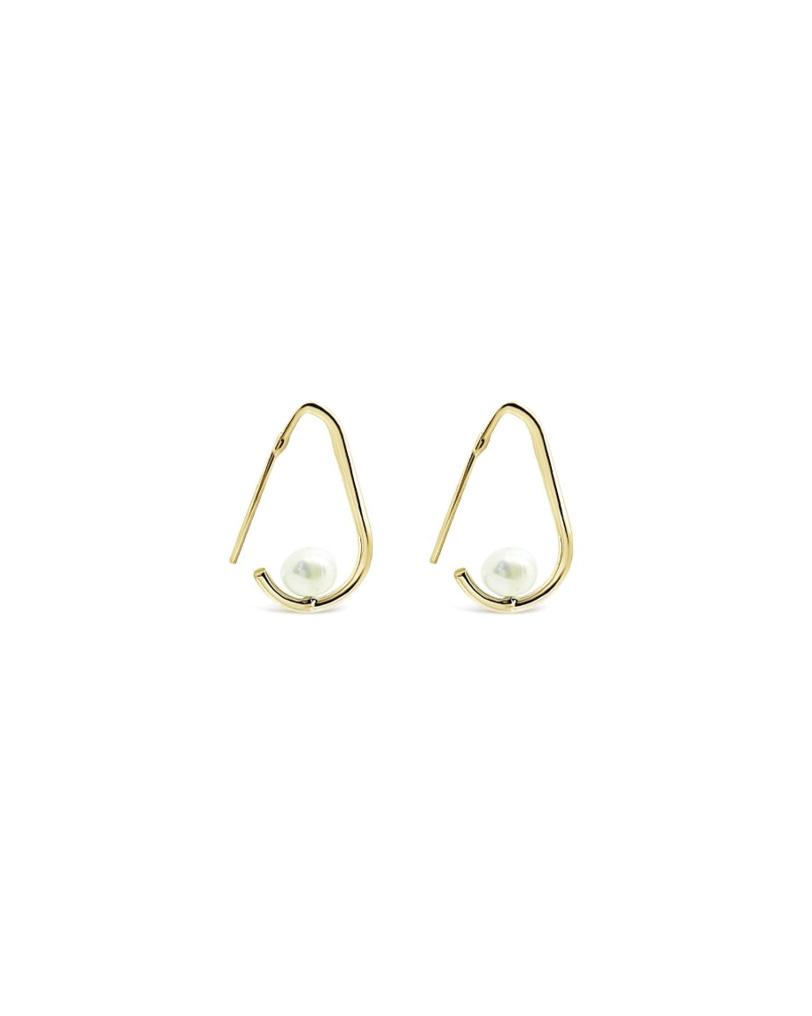 MINI HOOKED PEARL HOOPS, GOLD