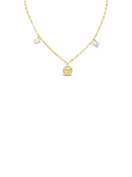 DISC n' PEARL CHAIN LINK NECKLACE, GOLD