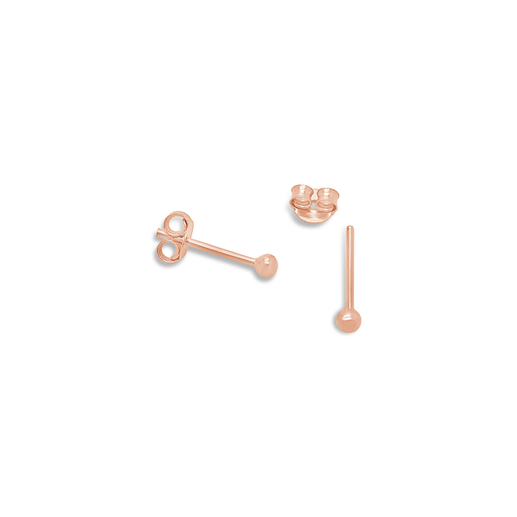 TINY ROSE GOLD BALL STUDS