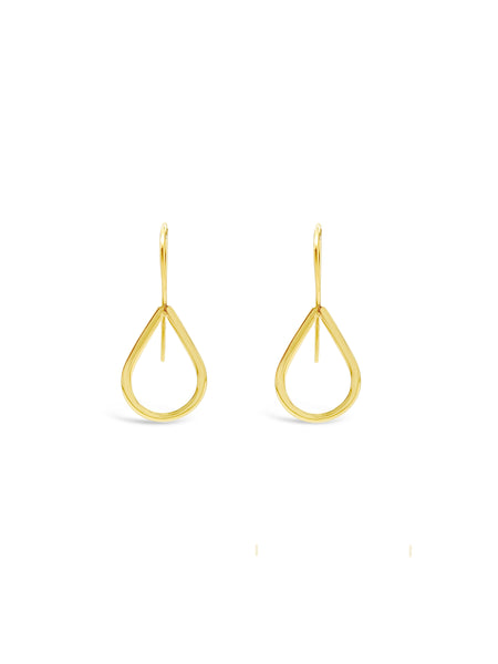 FINE OPEN TEAR DROP EARRINGS, GOLD