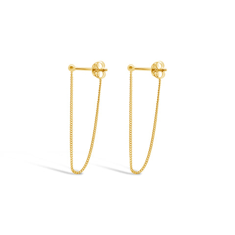 TINY BALL CHAIN DROP EARRINGS, GOLD